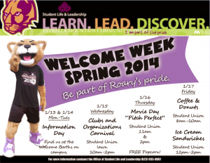 Spring 2014 Welcome Week flyer