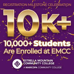 Image says congratulations on 10,000 students