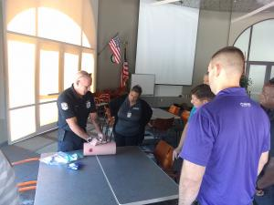 Instructor Steven King demonstrating Stop the Bleed techniques