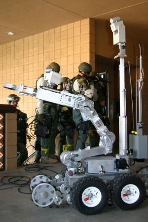 Goodyear's SWAT robot assesses the situation for officers