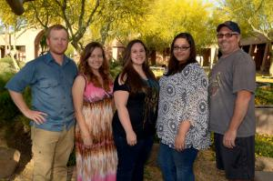 First art grads at EMCC (left to right: Art faculty Jimmy Fike, Angelina Zabala, Brandy Hurst, Chantal Blauvelt, Anthony Galto)