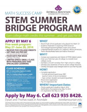 STEM Summer Bridge flyer